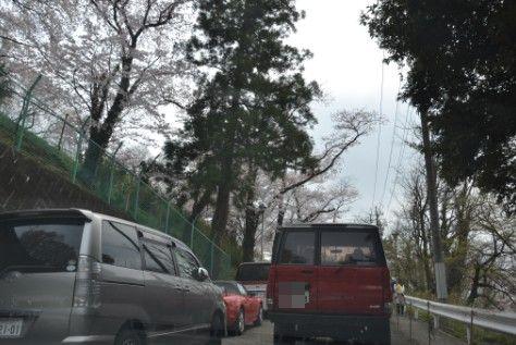 桐生が岡遊園地・動物園手前の車の渋滞模様