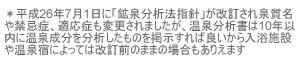温泉成分分析書お知らせ