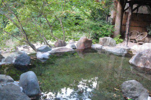 湯元四萬館文人の湯の露天風呂の様子