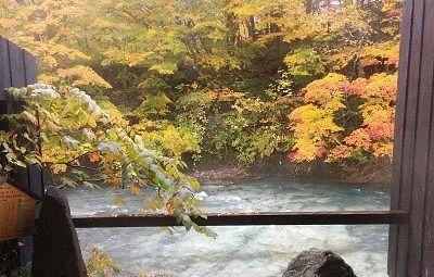 貸し切り風呂から見えた紅葉の景色