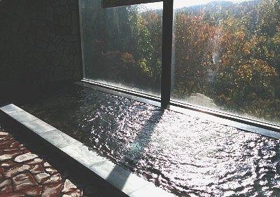 内湯と窓からの景色