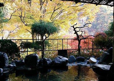 赤城の湯(混浴露天風呂)に入浴しながら見えた景色