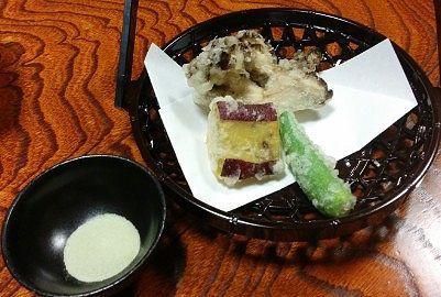 舞茸、サツマイモ、しし唐の天ぷら