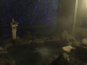 夜の貸切風呂山懐の湯の様子