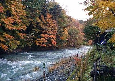 中庭から見えた湯西川と紅葉の景色
