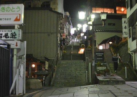 夜の石段街200段目の様子