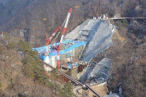 2018年2月27日工事中ダムの姿
