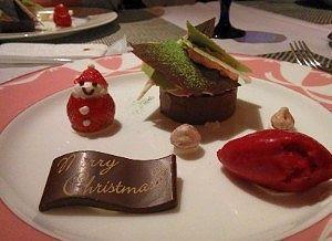クリスマスデザートでチョコが黒