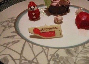 クリスマスデザートでチョコが白
