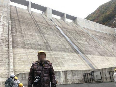 湯西川ダムのコンクリート壁