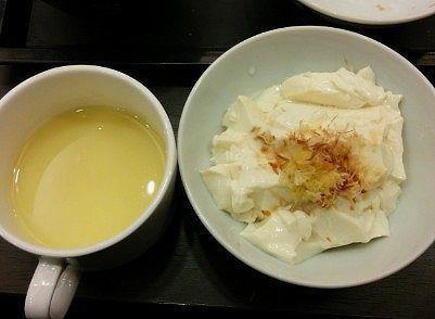 コーンスープと手作り豆腐