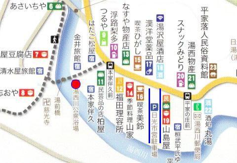 湯西川温泉街の地図
