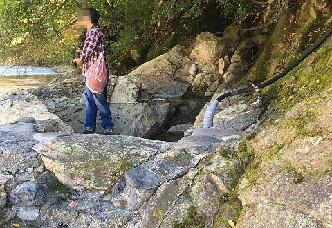 薬研の湯から川の方向を見てる