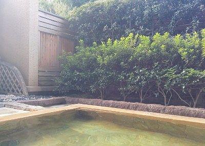 露天風呂と生垣