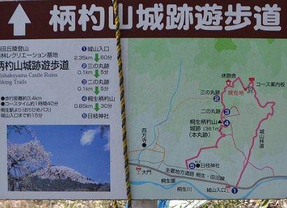 柄杓山城跡遊歩道案内図