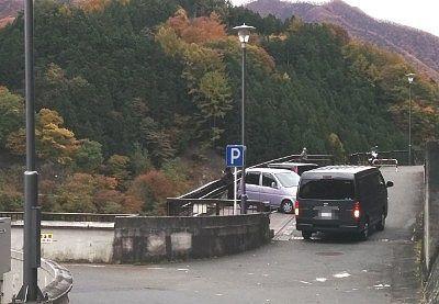薗原ダムの駐車場の様子