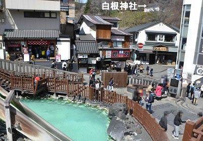 湯畑から見える白根神社