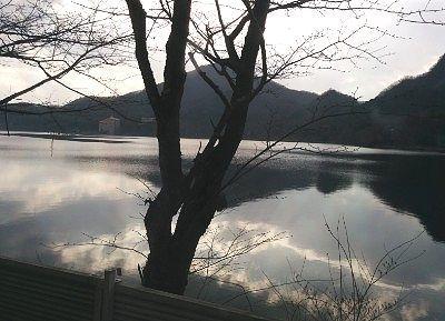 男湯から見えた榛名湖の景色