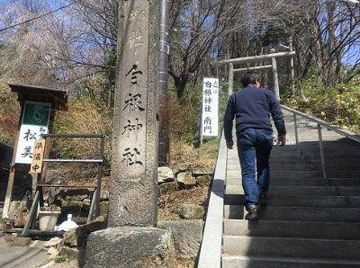 白根神社南門へ通じる石段の様子