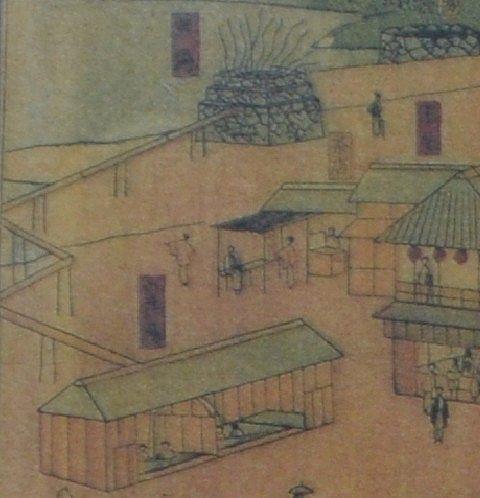明治の頃の湯元源泉地を描いた絵図