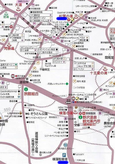 松葉の湯近くの駐車場マップ