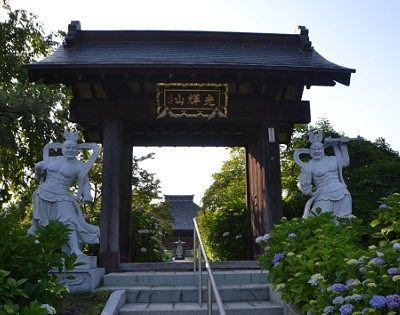 山門と仁王像と紫陽花