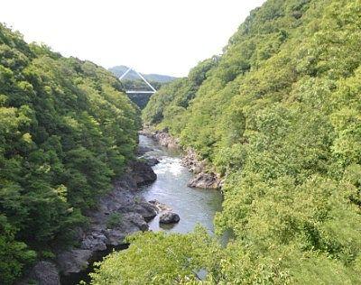 高津戸橋からはねたき橋を見た様子