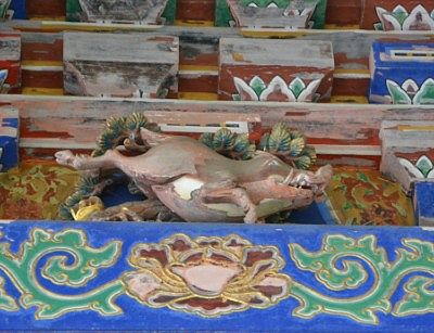 五重塔にある十二支の彫刻のうちのイノシシ