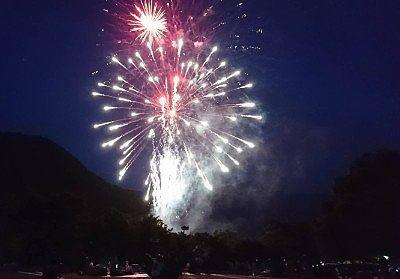 梅田湖花火大会で打ち上げられた花火