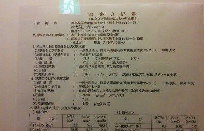 嬬恋プリンスホテル本白根温泉の温泉成分分析書