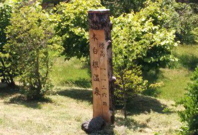 本白根温泉標高1,126mと書かれた碑