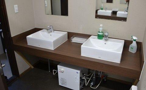 ゆけむり館の共同洗面所の様子