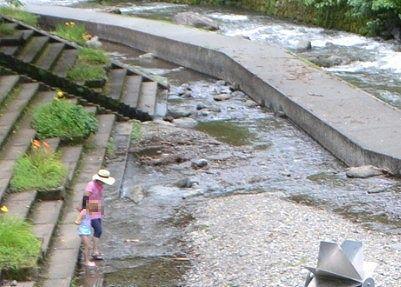 支流川で遊ぼうとしてる子供