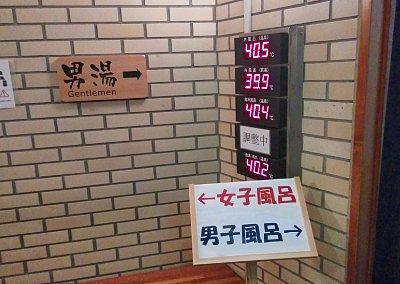 各浴槽の温度表示
