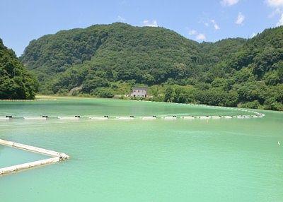 エメラルドグリーン色の上州湯ノ湖