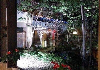 別湯の窓から見えたライトアップされた日本庭園