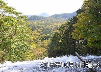 2018年10月3日撮影紅葉の湯滝、滝上の様子