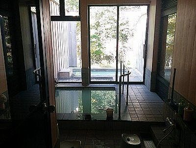 脱衣所のガラス窓から見えた浴場の様子