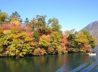 遊覧船から見えた紅葉の中禅寺湖