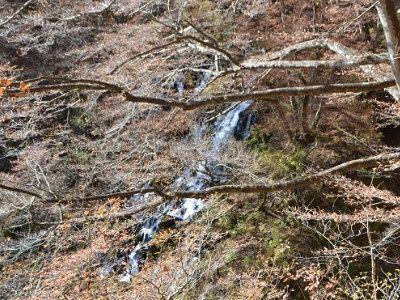遊歩道から見えた滝