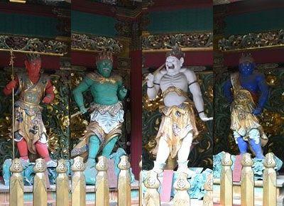 毘陀羅(びだら)と阿跋摩羅(あばつまら)。裏側に、けん陀羅(けんだら)と烏摩勒伽(うまろきゃ)の四体の夜叉像