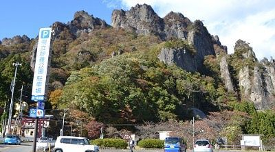 県立妙義公園駐車場から見える妙義山