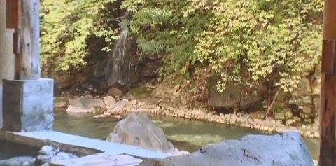 露天風呂から見える滝の様子