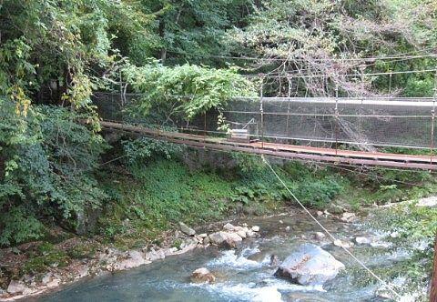 露天風呂から見えた吊り橋
