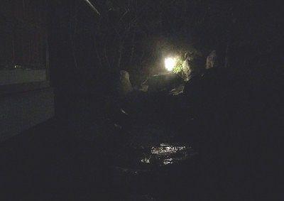 夜の甌穴露天風呂
