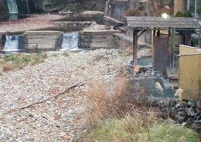通路から丸見えの竜宮の湯混浴露天風呂