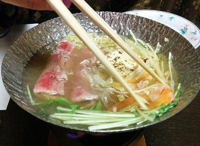 上州牛と季節野菜のしゃぶしゃぶ