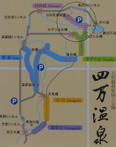 奥四万湖への道路マップ