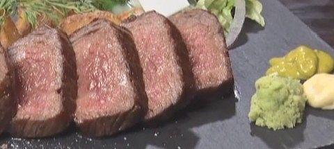 夜だけのメニューブランド牛のステーキ