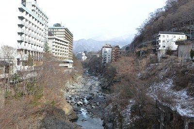 くろがね橋から見た鬼怒川渓谷の景色